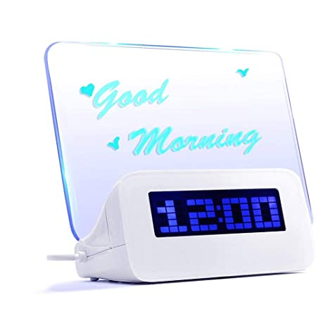 Multifuncional LED Digital Alarma Reloj/Calendario/termómetro + fluorescente rotulador pizarra + + manual