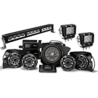 Kicker Bundle of 4 Items 44PRZ35 5-Speaker Polaris RZR System with 27 Off-Road LED Light Bar and two 4-1/4 Heavy Duty Work Light