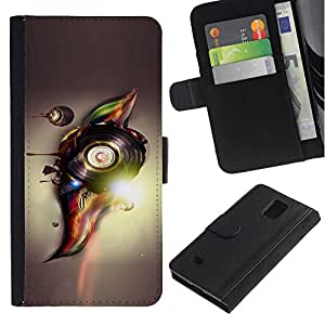 Paccase / Billetera de Cuero Caso del tirón Titular de la tarjeta Carcasa Funda para - Abstract Vinyl - Samsung Galaxy Note 4 SM-N910