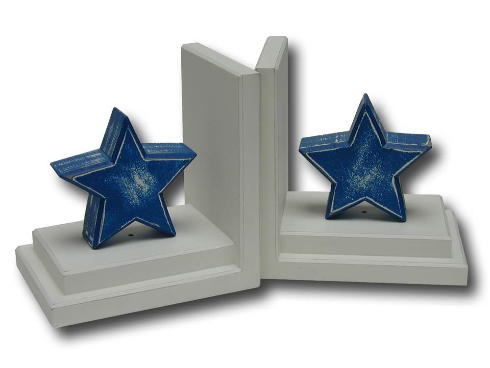Distressed Star Bookends in White Base (Blue)