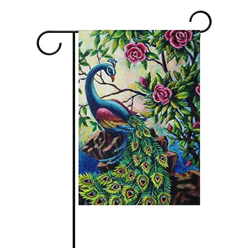 ALAZA Vintage Peacock Feather Tail Rose Polyester Garden Yar