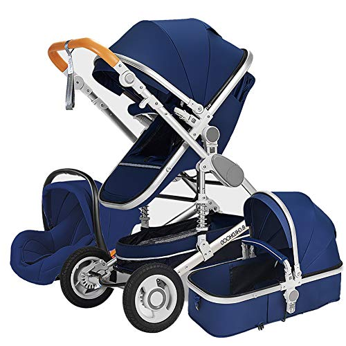 AMENZ Sport Stroller Double Strollers Buggy Easy to use and Assemble This pram Compact Tandem pram Parent Facing Pushchair for Newborn and Toddler – Blue