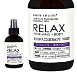 RELAX Your Mind & Body, Lavender + Chamomile Aromatherapy Spray, Lavender Pillow Mist, Lavender Sleep Spray, Lavender Pure Essential Oils, Calming Mist, Large 4oz Glass Bottles, eunoia naturals