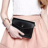 """Universal Fashion Soft PU Leather Cellphone Purse Case with Cross Body Shoulder Strap for iPhone 6 6s plus iPhone 5 5S Galaxy Note 2 S5 S6 Blu Studio Blu Dash Sony Xperia Z5 Under 6"""", Black-01"""