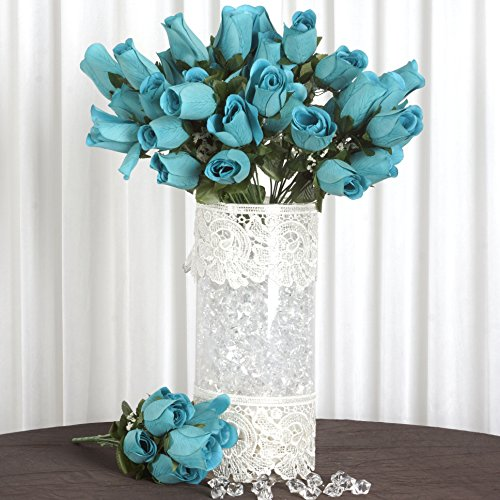 Efavormart 84/pk Velvet Rose Buds Wedding Flowers Supply - Turquoise (Velvet Turquoise)