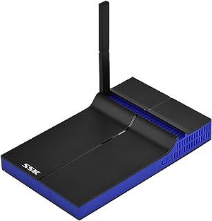 Zerone SSK Adaptateur de récepteur WiFi SSP-Z200, 1080P Adaptateur de dongle Miracast Airplay récepteur Adaptateur Audio sans Fil Double Bande 2,4G + 5G Récepteur HDMI VGA