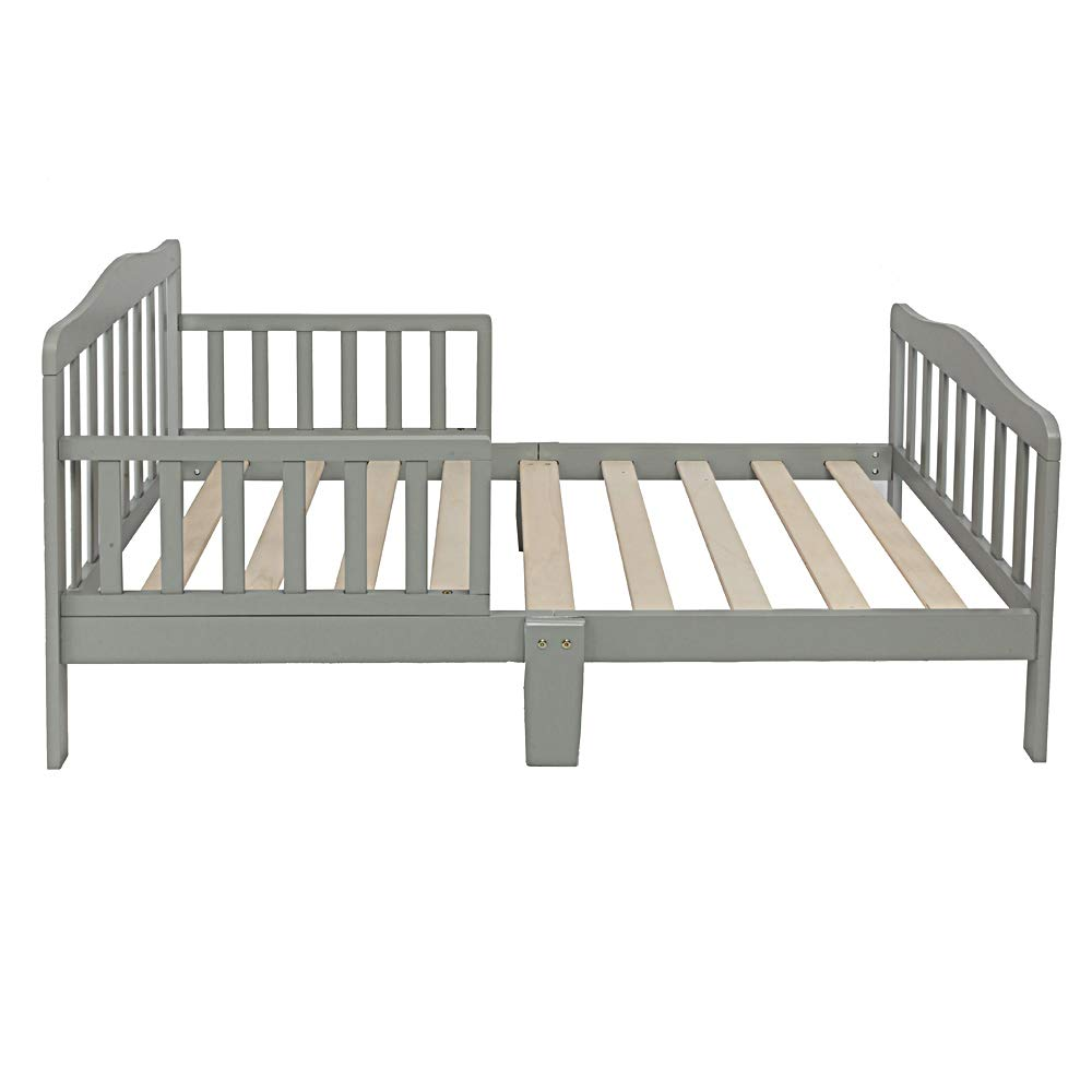 Henf Wooden Toddler Bed Kids Bedframe Children Furniture Sturdy Wooden Frame with/Safety Rail Fence Great for Boys and Girls,Gray by Henf