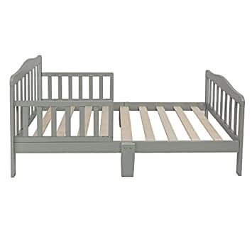 Wooden Toddler Bed Frame.Henf Wooden Toddler Bed Kids Bedframe Children Furniture Sturdy Wooden Frame With Safety Rail Fence Great For Boys And Girls Gray