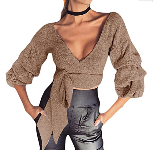 - Cruiize Womens Sexy Deep V Neck Puff Sleeve Cropped Pullover Sweater Khaki L