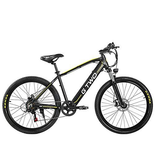 GTWO Bicicleta eléctrica de 27.5 Pulgadas 350W Bicicleta de montaña 48V 9.6Ah Batería de Litio extraíble 5 Pas Freno de Disco Delantero y Trasero