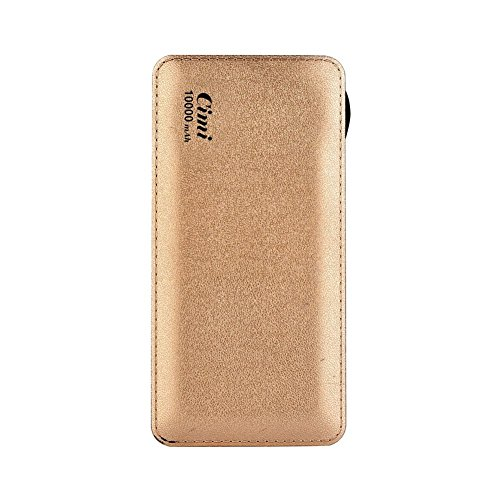 Cimi Premium Portable Power Bank 10000mAh External Battery Portable Charger with Micro USB Cables and Built-in Lightning Quick Charge for iPhone, iPad & Samsung Galaxy & More (Gold)