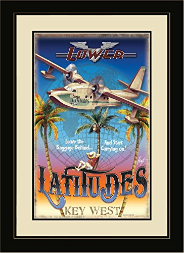 Northwest Art Mall JM-6705 FGDM LBB Key West Florida Lower Latitudes Leave the Baggage Behind Framed Wall Art by Artist Jim Mazzotta, 16