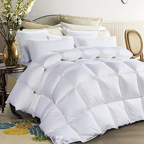 - ROSECOSE Luxurious All Seasons Goose Down Comforter King Duvet Insert Dobby Checkered Hypo-allergenic 1200 Thread Count 750+ Fill Power 100% Cotton with Tabs Dobby Checkered(King,Dobby Checkered)