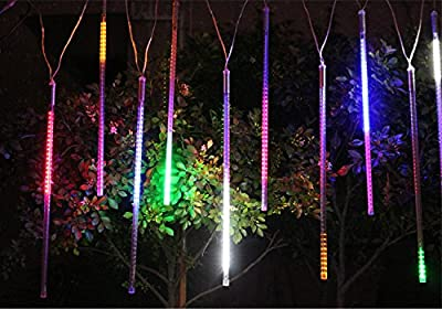 Alkbo Color Meteor Shower Rain Lights Waterproof String for Wedding Party Christmas Xmas Decoration Tree Party Garden Xmas String Light Outdoor 10FT 8 Tube