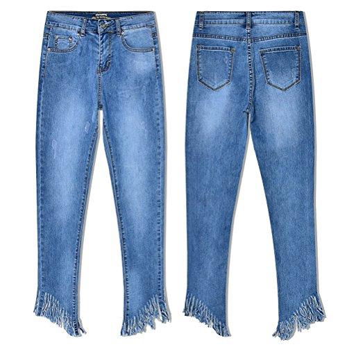 Denim Zhhlinyuan Longue Ladies Bleu Stretch Regardez Svelte Un Bleu Mode Pantalon Dames Trousers Girls Jeans Maigre Gland Teen I8qrInxS