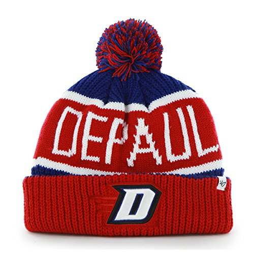 '47 DePaul Blue Demons Red Cuff Calgary Cuffed Beanie Hat with Pom - NCAA Cuffed Winter Knit Toque Cap