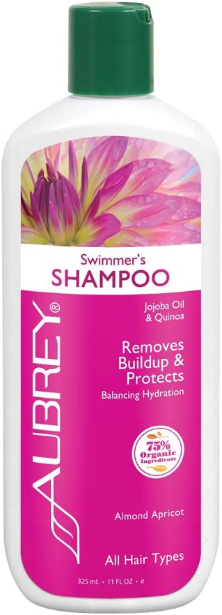 Aubrey Swimmers Shampoo | Removes Chlorine & Buildup, Protects | Jojoba Oil & Quinoa Protein | All Hair Types | 75% Organic Ingredients | 11oz