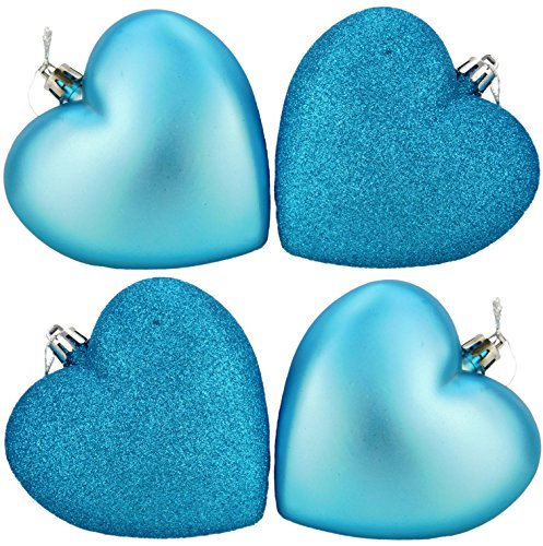 4-100mm Heart Shaped Baubles - Matte & Glitter Design - Christmas Decoration (Turquoise) (Christmas Turquoise Baubles)