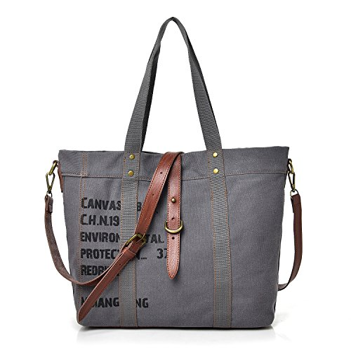 Bag Canvas Handbag Totes Shoulder Gray Ladies Women's Hobo qORTwxa