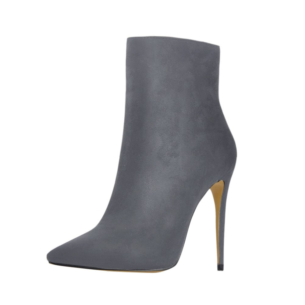 onlymaker Pointed Toe Ankle Boots for Women Side Zipper Dress High Heels Shoes Booties B078LZ1HJD 7 B(M) US|Grey Suede