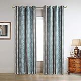 DS BATH Kara Window Curtain,Geometric Decor Curtains,Print Blackout Curtains,Floral Panels for Living Room,Panels for Bedroom,2pcs Panel:Each 50″ W x 84″ H,Total Size:100″ W x 84″ H-Blue