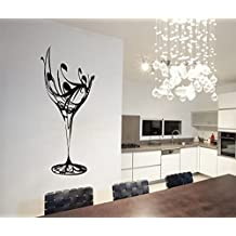 "ColorfulHall 23.6"" X 40.2"" Black Abstract Elegant Wine Glass Wall Decal Kitchen Wall Sticker Removable Vinyl Kitchen Decoration"