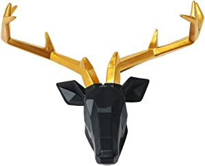 20 inch Large Deer Heads Wall decor | Resin Animal Head Sculpture | Faux Deer Antlers Wall Decor | Taxidermy Animals Wall Mount | Decorative Deer Head (Black Head Gold Antlers)