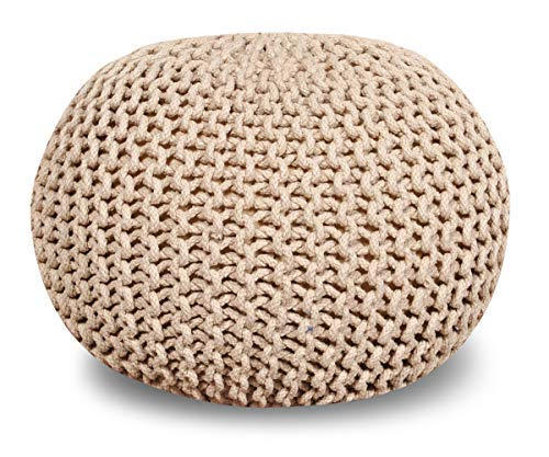 "Queenzliving 100% Cotton Hand Knitted Twisted Cable Style Dori Pouf/Floor Ottoman Size 20"" Inches Diameter 14"" Inches Height (Beige)"