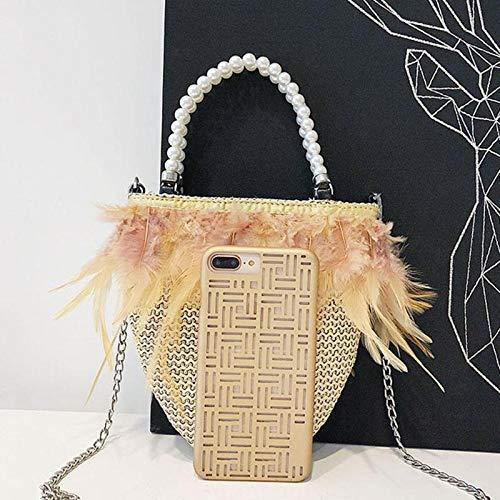 secchiello a borsa spiaggia borsa patchwork per moda Nero designer Yellow tracolla donna catena borsa borsa piume messenger paglia lunga Bead Onemoret Dark TIqEE