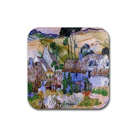 Thatched Cottages by a Hill By Vincent Van Gogh Square ()