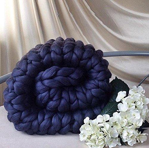 47x71in Chunky Blanket Wool Blanket 100 % Merino Wool Knit Blanket Giant Throw Super Big Bulky Arm Knitting Home Decor Birthday Gift by Cozy Chunky Blanket (Image #5)