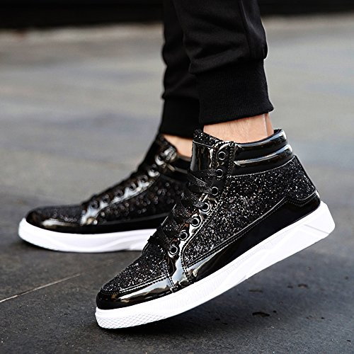 SITAILE High Glitter Rivet Sneakers Black1 Fashion Top Women Men Shoes rRvwAqr