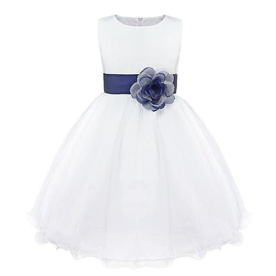 Iefiel Vestido Blanco De Fiesta Boda Bautizo Para Niñas Vestido De Princesa Niña Vestido De Flores Cumpleaños Tutú Princesa Elegante 2 Años 14 Años
