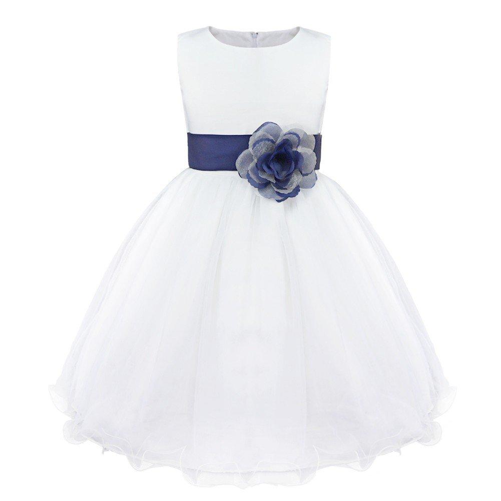 175f74bb4 IEFIEL Vestido Blanco de Fiesta Boda Bautizo para Niñas Vestido de Princesa  Niña Vestido de Flores