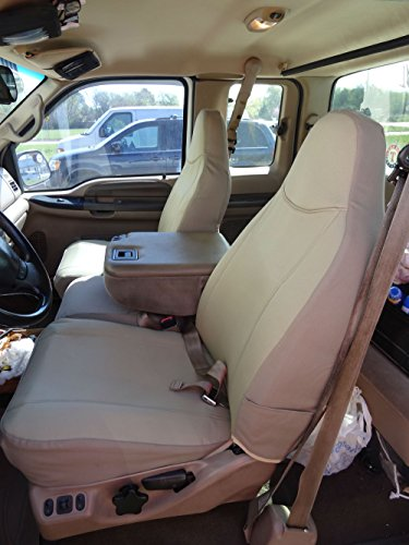 20 Front Split Seat - Durafit Seat Covers, F238-X3, 1999-2007 Ford F250-F550 Base Model Only, Front 40/20/40 Split Seat Covers with Pointed Molded Headrests & Opening Console, Coin Holder in the console Tan Twill Fabric