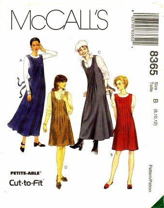 Scoop Jumper - McCall's 8365 Sewing Pattern Misses Front Tuck Scoop Neck Jumpers Size 8 - 12
