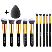 Amazon Lightning Deal 100% claimed: EmaxDesign Makeup Brushes 10+1 Pieces Makeup Brush Set, 10 Pieces Professional Foundation Blending Blush Eye Face Liquid Powder Cream Cosmetics Brushes & 1 Piece Black Beauty Sponge Blender With Bag