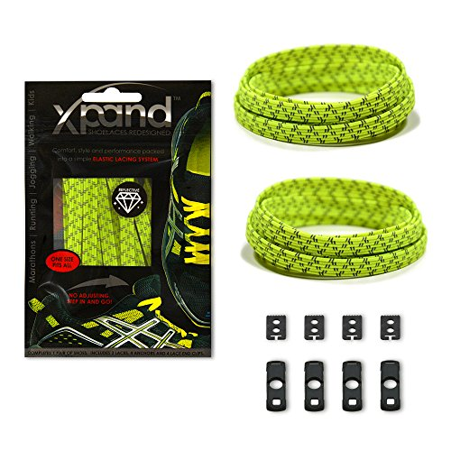Xpand No Tie Shoelaces System with Reflective Elastic Laces - Lemon Lime - One Size Fits All Adult and Kids (Lemon Lace)
