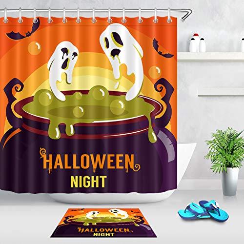 LB Ghost Phantom Witch's Potion Bat Simple Halloween Theme Design Decorations Shower Curtain Bath Rug Set, 70x70 Shower Curtain Waterproof Mildew Free, 15x23 in Non Slip Bath Rug
