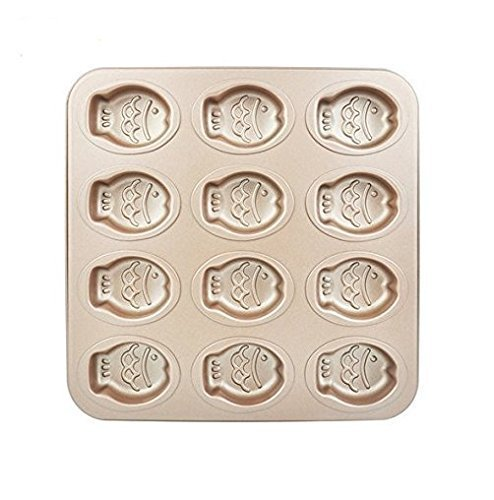 Astra shop Premium 12 Cup Champagne Fish Cake Pan Cute Baking Pan Non Stick Cake Mold Muffin Pan,11 x 11 inch