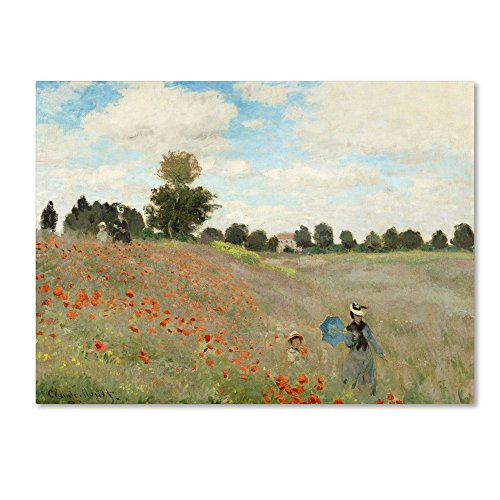 Wild Poppies Near Argenteuil by Claude Monet, 35x47-Inch Canvas Wall Art (Fields Monet Poppy)