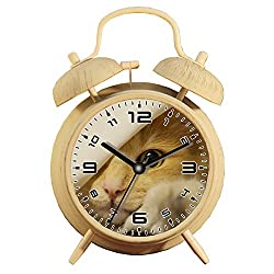 Table Alarm Clock with Backlight, Battery Operated Travel Clock, Round Twin Bell Loud Alarm Clock (Individual Pattern)459.Norwegian Forest Cat, Cat, Amber, Face, Cat's Eyes, Pet