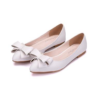 Mujer Nupcial Zapatos Para Novia Mujer Blanco Ponerse Boda Arco Resplandecer Mocasines Bajo Talones Señoras Ballet Pisos Zapatillas Tamaño 35-42: Amazon.es: ...