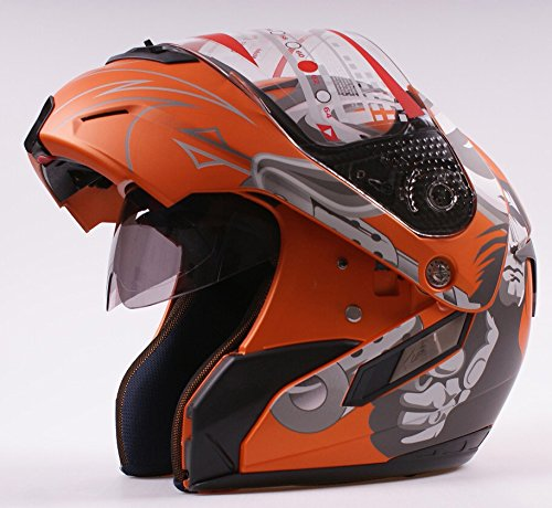 Amazon.com: Ama_TrulyStep New Dual / 2 Visors Modular Motorcycle Scooter Vespa Full Open Face Flip Up Helmet Matte Orange S M L XL (XL 61cm ~ 62cm): ...