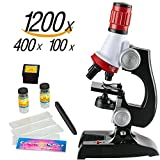 Microscope for Kids | Science Kit | Kids Beginner Toy with LED 100X, 400x, and 1200x Magnification kids science toys,red