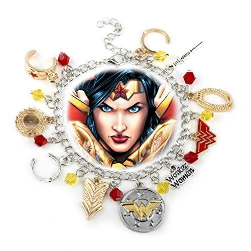 DC Comics Wonder Woman Silvertone/Goldtone Metal 10 Charm Bracelet]()