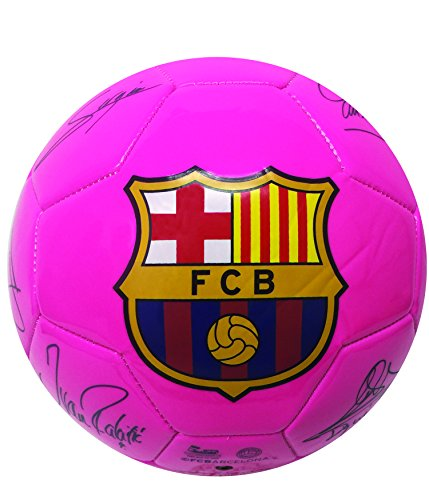 FC Barcelona Players Signature Soccer Ball, Pink Color, Size #2 and Size #4. Soccer Ball With the signature of Barcelona Players, included the best Soccer Player of the world, LEO MESSI !! (Size 4)