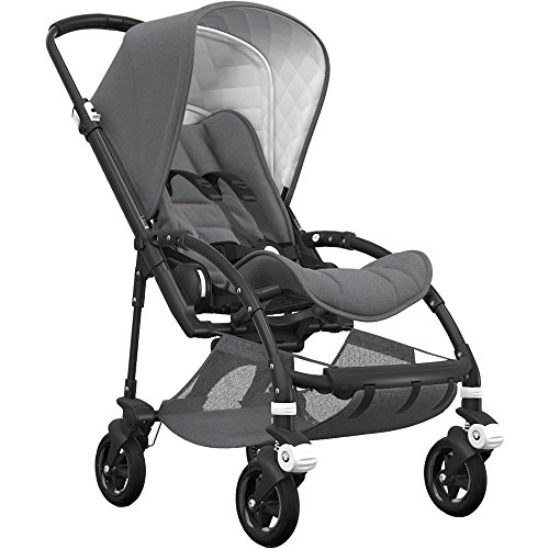 Bugaboo Bee5 Classic Complete Special-Edition Stroller, Black/Grey Mélange – Compact, Foldable Stroller for Travel and Urban Life