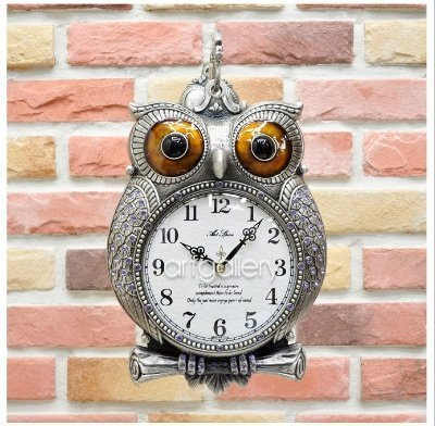 フクロウ 鋳物 両面時計a(シルバー)/電波時計 B01GOHR9O2