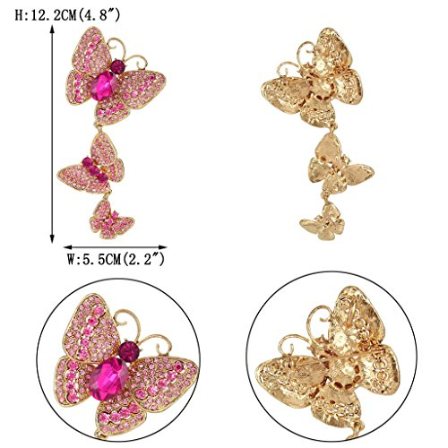 EVER FAITH® Art Nouveau Papillon Cristal Autrichien Pendant Broche Ton d'Or Rose N05908-5